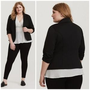 Torrid Ruched Sleeve Ponte Blazer Two Button Fit